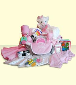 Baby Girl Basket - Pink by Suinshine Florist