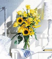 Yellow Roses & Sunflowers by Suinshine Florist